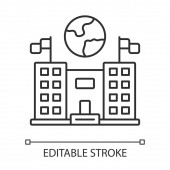 Immigration center linear icon Embassy and consulate building Administrative structure Travel service Thin line illustration Contour symbol Vector isolated outline drawing Editable stroke