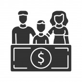 Family sponsorship immigration glyph icon Migration program Express entry Family trip Permanent residents Travelling abroad Silhouette symbol Negative space Vector isolated illustration