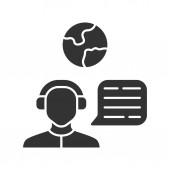 Immigration consultant glyph icon Online support hotline operator Office help desk worker dispatcher Travel agent Trip advisor Silhouette symbol Negative space Vector isolated illustration