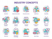 Industry concept icons set Technology development Manufacturing provide service research and development idea thin line illustrations Vector isolated outline drawings Editable stroke