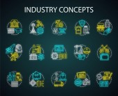 Industry neon light concept icons set Technology development Manufacturing provide service research and development idea thin line illustrations idea Glowing signs Vector isolated illustrations