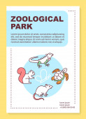 Zoological park poster template layout Reptiles Wild animals Nature fauna Banner booklet leaflet print design with linear icons Vector brochure page layouts for magazines advertising flyers