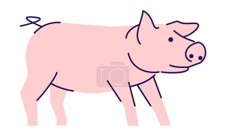 Cute pink pig side view flat vector illustration. ...
