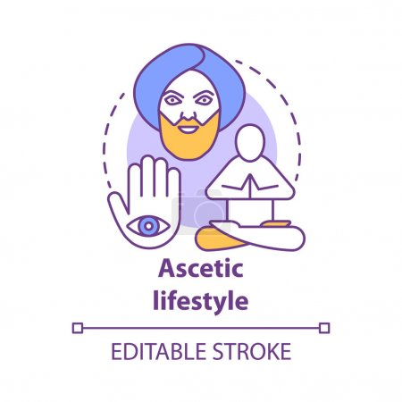 Ascetic lifestyle concept icon. Severe self-discip...