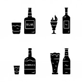 Drinks glyph icons set Rum absinthe sambuca beer Bottles and beverages in glasses Refreshment alcoholic liquid for party and celebration Silhouette symbols Vector isolated illustration