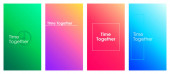 Time together social media stories duotone template set Gradient inspirational phrase web banner with text content layout Modern vibrant mobile app with inscription Blending colors mockup pack