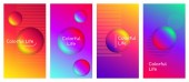 Colorful life social media stories duotone template set Optimistic and positive thinking quote gradient web banner with fluid 3d shapes Modern mobile app organic design Blending colors mockup pack