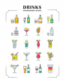 Drinks color icons set Alcohol menu card Beverages for cocktails Whiskey rum wine martini margarita absinthe Refreshing and warming spirit containing liquors Isolated vector illustrations