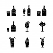 Drinks glyph icons set Rum absinthe whiskey sambuca sangria flaming cocktail and shot hurricane glass highball glass Alcoholic beverages Silhouette symbols Vector isolated illustration