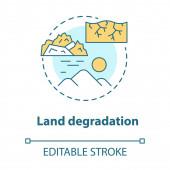Land degradation concept icon Soil impoverishment idea thin line illustration Soil erosion and desertification process Nonrenewable mineral resource Vector isolated outline drawing Editable stroke