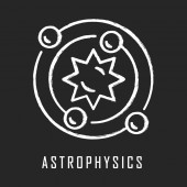Astrophysics chalk icon Astronomy branch Study of universe stars planets galaxies Astrophysical discoveries Cosmology Solar System science Isolated vector chalkboard illustration