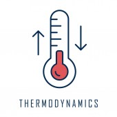 Thermodynamics color icon Temperature fluctuations Thermal effects Heating and cooling physical processes Thermometer measurement Thermodynamical system research Isolated vector illustration
