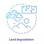Land degradation concept icon Soil impoverishment idea thin line illustration in blue Soil erosion and desertification process Nonrenewable mineral resource Vector isolated outline drawing