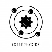 Astrophysics glyph icon Astronomy branch Study of universe stars planets galaxies Astrophysical discoveries Cosmology Silhouette symbol Negative space Vector isolated illustration