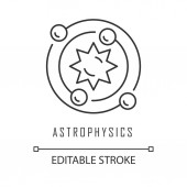 Astrophysics linear icon Study of universe stars planets galaxies Astrophysical discoveries Thin line illustration Contour symbol Vector isolated outline drawing Editable stroke