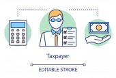Taxpayer concept icon Businessman filing tax form idea thin line illustration Revenue calculation Paying personal income tax Financial accounting Vector isolated outline drawing Editable stroke