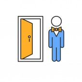 Doorman color icon Hotel entrance concierge service Motel door person butler bellboy Bellhop receptionist opening door inviting visitants Lobby manager servant Isolated vector illustration