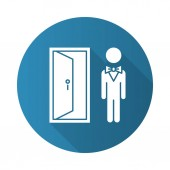 Doorman blue flat design long shadow glyph icon Hotel entrance concierge service Motel door person butler Bellhop receptionist opening door Lobby manager servant Vector silhouette illustration