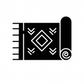 Home carpet glyph icon Textile item fabric stuff Doormat kilim Silhouette symbol Negative space Vector isolated illustration