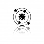 Astrophysics drop shadow black glyph icon tronomy branch Study of universe stars planets galaxies Astrophysical discoveries Cosmology Solar System science Isolated vector illustration
