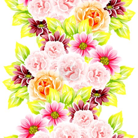 Seamless vintage style flower pattern. Floral elements in color