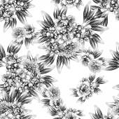 """Постер, картина, фотообои """"Бесшовные винтажном стиле цветок. Цветочные элементы в черно-белом."""""""