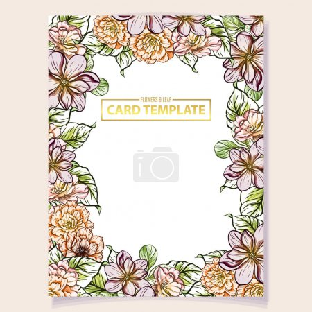 Photo for Vector illustration of colourful invitation card, vintage style flowers pattern - Royalty Free Image