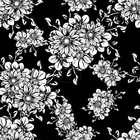 Photo for Vector illustration of vintage flowers pattern background - Royalty Free Image