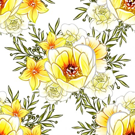 Photo for Vector illustration of bright flowers pattern background - Royalty Free Image