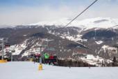 Monte Elmo, Dolomites, Italy - Mountain skiing and snowboarding. Sexten (Sesto), Trentino-Alto Adige, Puster Valley (Alta Pusteria), South Tyrol. February 22, 2019