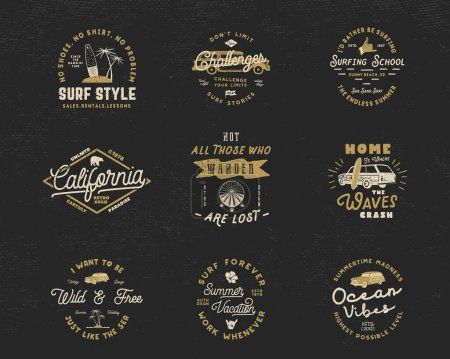 Photo for Vintage Surfing Graphics and Emblems set for web design or print. Surfer logo templates. Surf Badges. Summer fun typography insignia collection. Stock Vector hipster party patches, isolated on dark. - Royalty Free Image