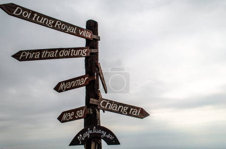 Photo for Familiar signpost at the Doi Tung view point - Royalty Free Image