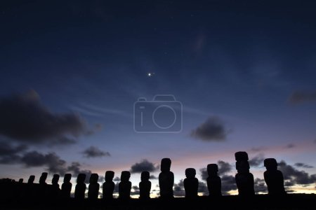 Photo for Moais at Ahu Tongariki at sunrise, Easter Island. - Royalty Free Image