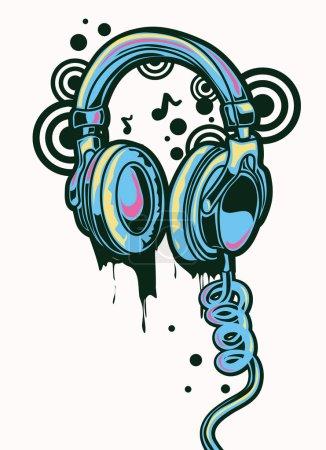 Illustration pour Graffiti pour écouteurs dessinés Funky - image libre de droit