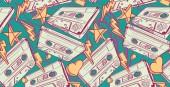 Audio cassettes drawn seamless pattern