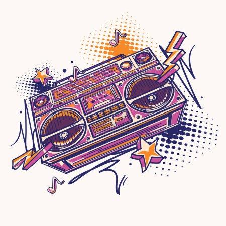 Illustration pour Funky boîte de boom dessinée colorée - image libre de droit