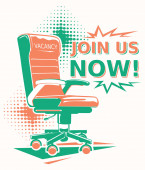 Join us now - advertising sign with office chair