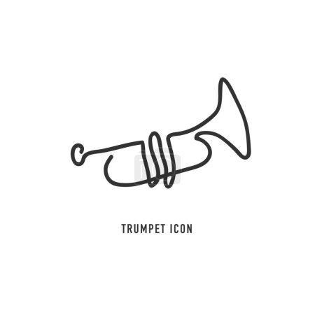 Illustration for Trumpet vector line icon on white background - Royalty Free Image