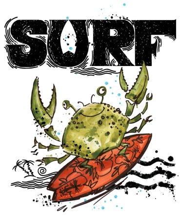 Cute cartoon fish. Surf vintage hand drawn text. sea animal watercolor illustration. children's summer holidays background. T-shirt kids design template
