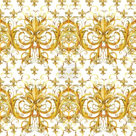 seamless pattern golden lace. floral jewelry design. watercolor hand drawn luxury background.