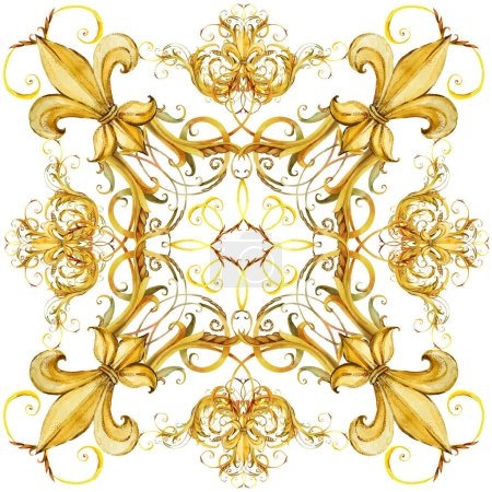 fashion shawl design. Silk scarf with golden jewelry lace. watercolor hand drawn luxury background.