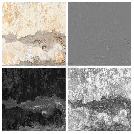 grunge cracked wall texture set