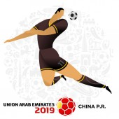 Soccer player on gray background with modern and traditional elements 2018 2019 trend Asian Football Cup Club World Cup in United Arab Emirates Full color vector illustration in flat style