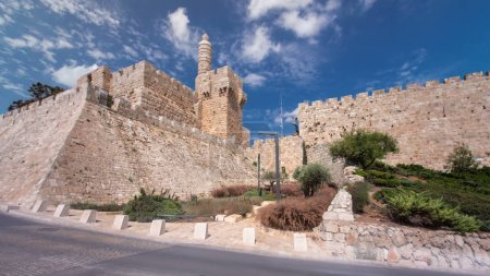 Photo for Tower of David timelapse hyperlapse is so named because Byzantine Christians believed the site to be the palace of King David. The current structure dates from the 1600's. Jerusalem, Israel - Royalty Free Image