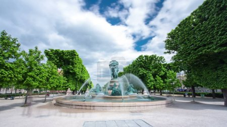 """The fountain of the Observatory (""""La fontaine de l'Observatoire""""), or the fountain Four continents in the Jardin Marco Polo, south of the Jardin du Luxembourg in Paris, France timelapse hyperlapse, 4K"""