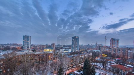 Kharkiv city from above day to night transition ti...