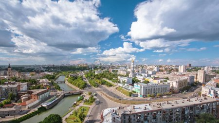 Kharkiv city from above timelapse with river. Aeri...