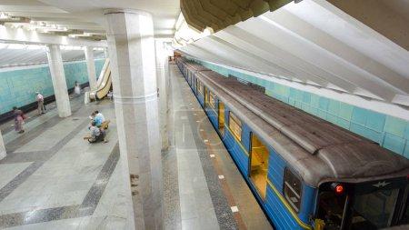 An underground train departing from Metrobudivniki...