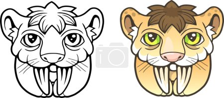 Illustration for Cartoon cute Saber toothed tiger, funny picture, coloring book - Royalty Free Image