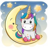 Cute Cartoon Unicorn in a pilot hat is sitting on the moon